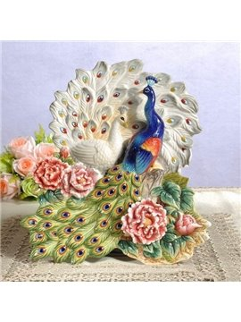Gorgeous Ceramic Peacock Shape Desktop Decoration Painted Pottery