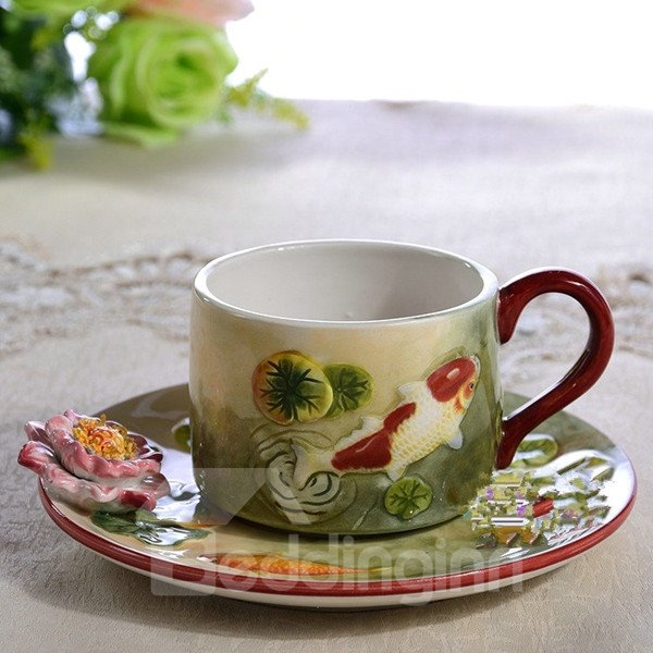 Natural Ceramic Goldfish and Lotus Pattern Cup Set Painted Pottery