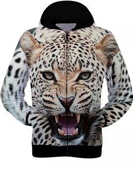 Long Sleeve Zip-Front Leopard Pattern 3D Painted Hoodie