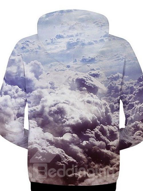 Unique Long Sleeve Zip-Front Cloud Pattern 3D Painted Hoodie
