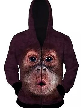 Lovely Long Sleeve Zip-Front Monkey Pattern 3D Painted Hoodie
