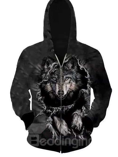 Super Long Sleeve Zip-Front Wolve Pattern 3D Painted Hoodie