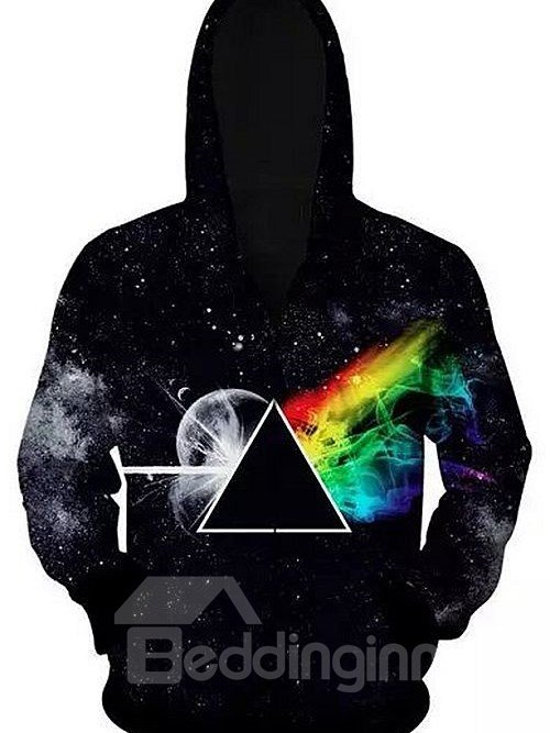 Fashion Long Sleeve Zip-Front Novelty Pattern 3D Painted Hoodie