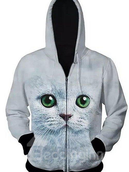 Cute Long Sleeve 3D Painted Cat Pattern Zipper Hoodie for Men