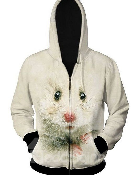 Long Sleeve Zip-Front Mouse Pattern 3D Painted Hoodie for Men