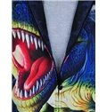 Cool Long Sleeve 3D Painted Dinosaur Pattern Zipper Hoodie for Men
