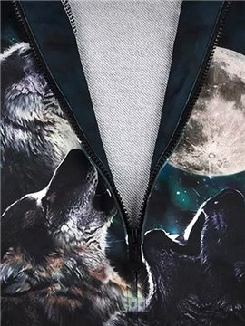 Long Sleeve 3D Painted Wolves Pattern Zipper Hoodie For Men