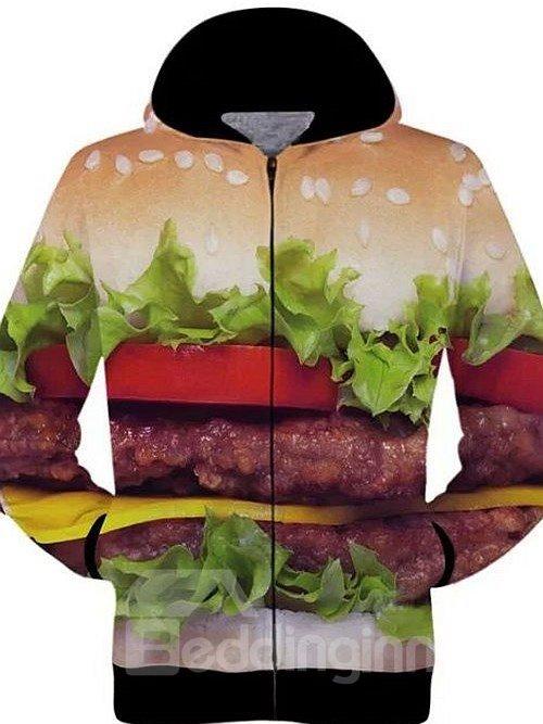 Unique Long Sleeve 3D Painted Hamburger Pattern Zipper Hoodie for Men