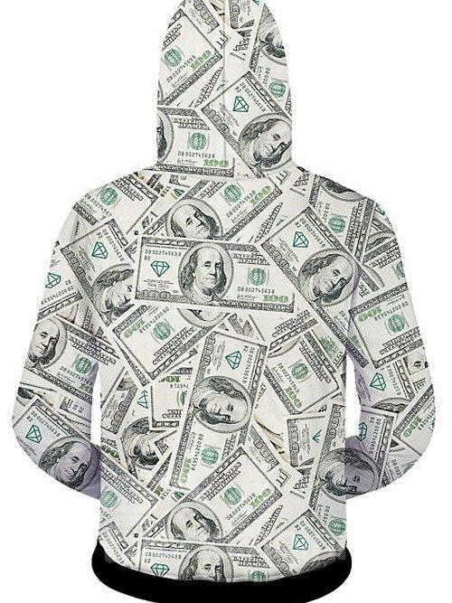 Fashion Long Sleeve 3D Painted Dollars Pattern Zipper Hoodie for Men