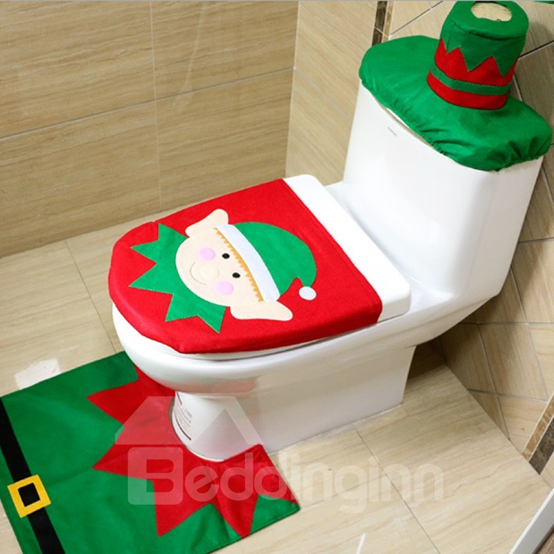 Wonderful Festival Christmas Decoration Santa Claus Pattern Closestool Covers