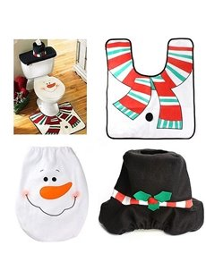 Fantastic Festival Christmas Decoration Snowman Pattern Closestool Covers