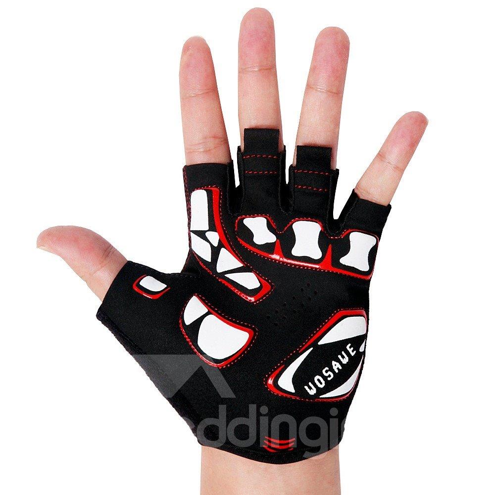 Unisex Skull Half Finger Road Bike Gloves with SBR Pad Anti-seismic Cycling Gloves
