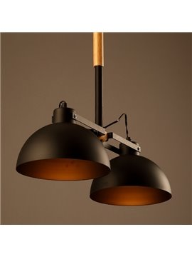 Simple Style Black Iron 2 Bulb Holders Pendant Light