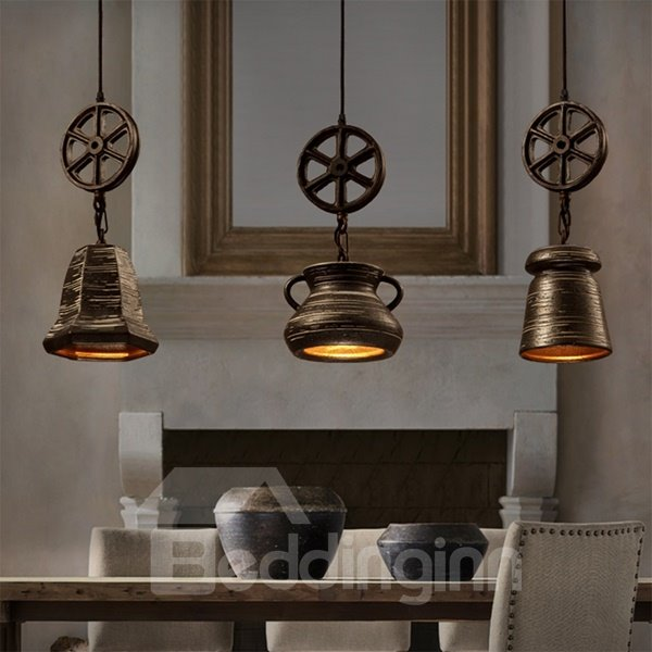 Black Iron Frame Wheel Shape Home Decorative Pendant Light