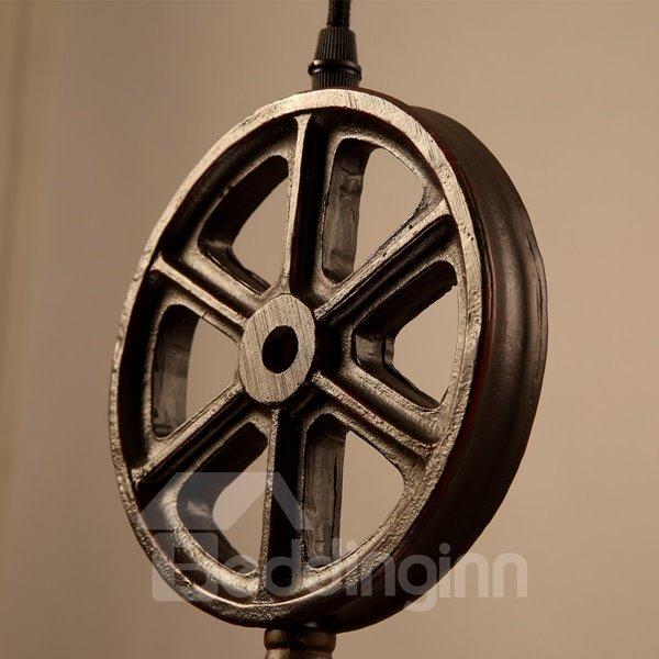 Amusing Iron Wheel and Cylinder Shape Pendant Light