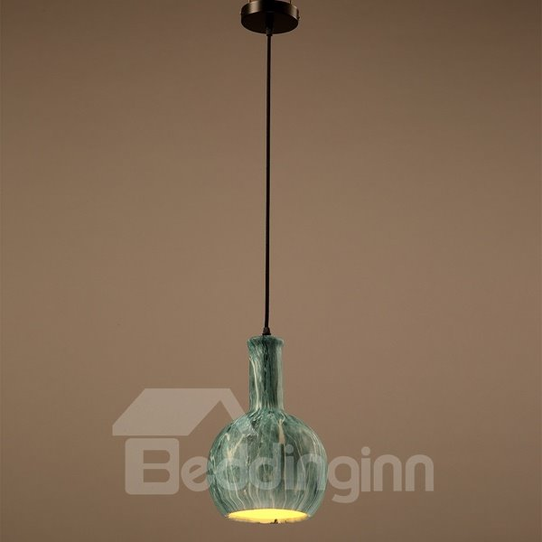 Green Iron Bottle Shape Home Decorative Pendant Light