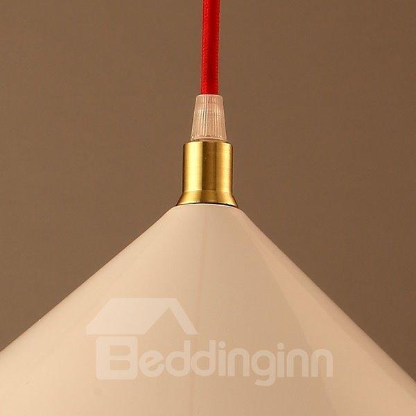 White Iron Funnel Shape Chain Pendant Light