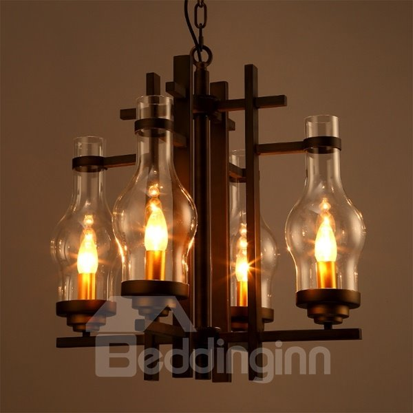 Classical Iron and Glass 4 Bulb Holders Pendant Light