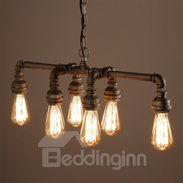 European Style Iron Frame Pipe Shape 6 Bulb Holders Pendant Light