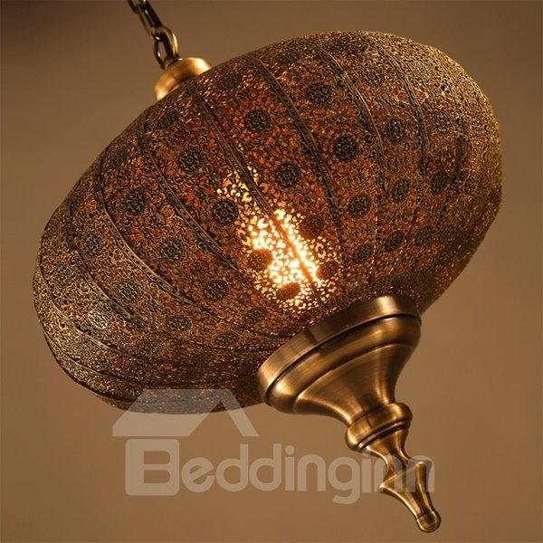 Amazing Iron and Glass Lantern Shape Pendant Light