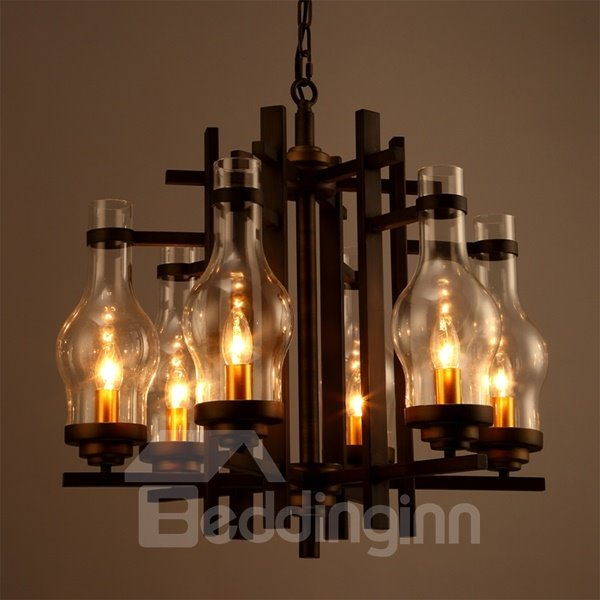 Classical Iron and Glass 6 Bulb Holders Pendant Light