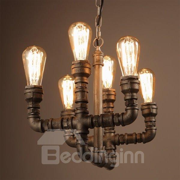 Fancy Iron Frame Pipe Shape Decorative 6 Bulb Holders Pendant Light