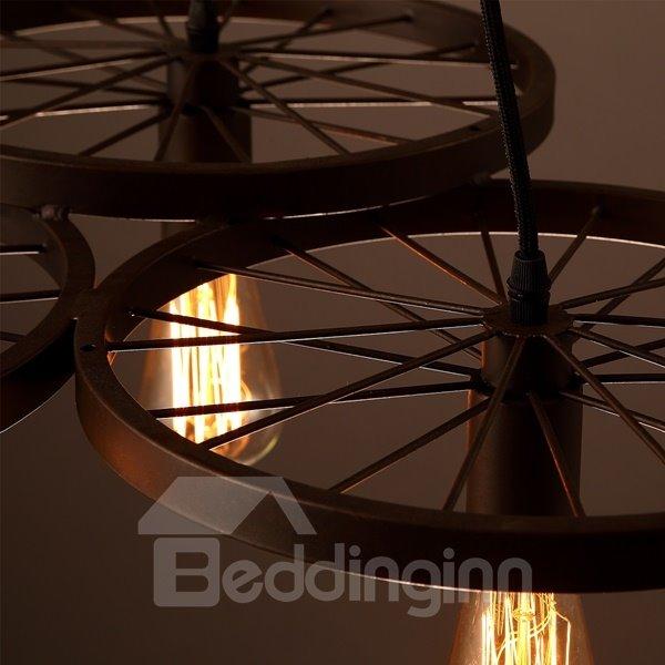 Round Wheel Shape Iron Frame 3 Bulb Holders Pendant Light