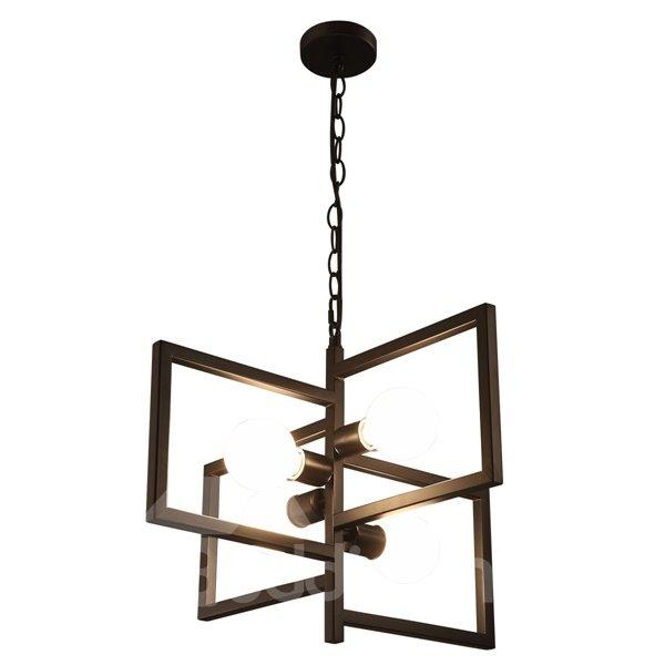 Creative Iron Frame Square Frame 4 Bulbs Holders Pendant Light