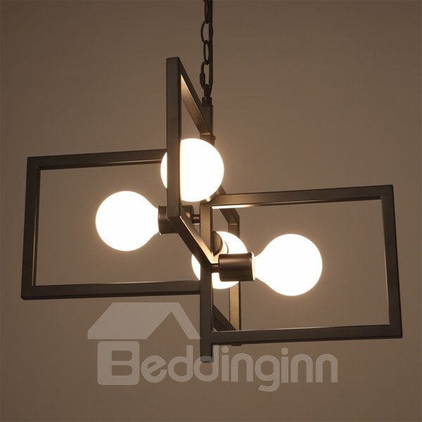 Creative Iron Frame Square Frame 4 Bulbs Holders Pendant Light