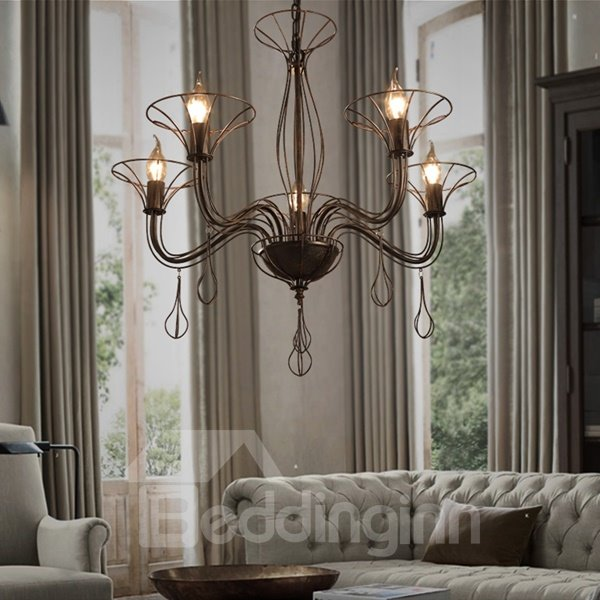 Luxury Decorative Iron Frame 5 Bulb Holders Pendant Light