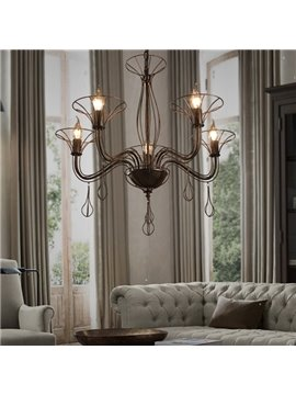 Luxury Decorative Iron Frame 5 Bulb Holders Pendant Light
