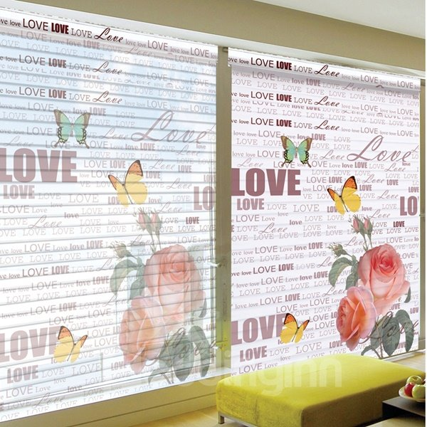 Romantic Love with Pink Rose Printing Polyester Shangri-La Blind & Roller Shades