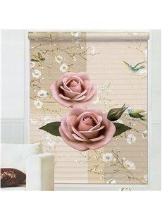 Vivid Pink Rose 3D Printing Polyester Shangri-La Blind & Roller Shades