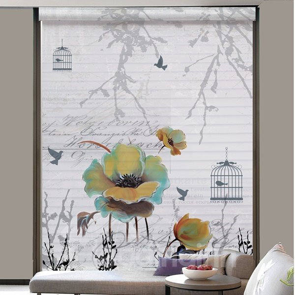 Watercolor Flowers Peace Life Printing Polyester Shangri-La Blind & Roller Shades