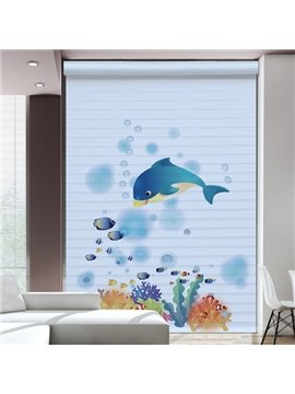 Clip Art Dolphin in the Deep Sea Printing Polyester Shangri-La Blind & Roller Shades