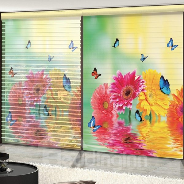 Colored Butterfly and Daisy Printing 3D Shangri-La Blinds & Roller Shades