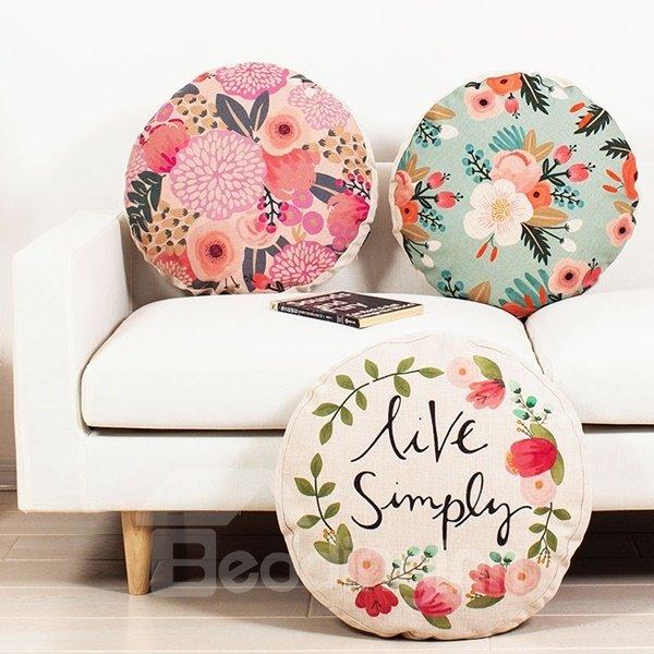 Unique Design Pastoral Style Round Throw Pillow