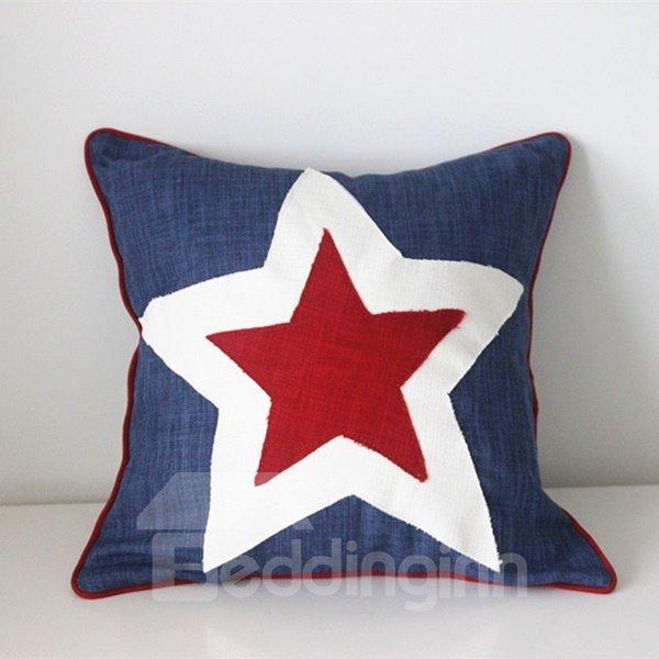 Simple Design Star Print Polyester Throw Pillow