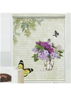 Vivid Butterfly Flying around Purple Hydrangea Printing 3D Shangri-La Blinds & Roller Shades