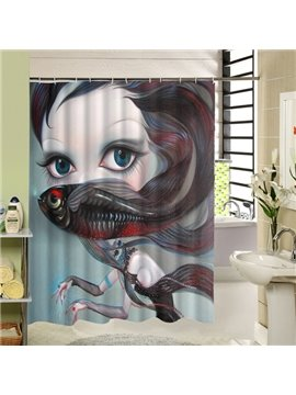 Freaky Cartoon Girl with Big Eyes and Fish Printing 3D Waterproof Shower Curtain