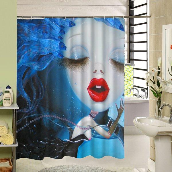 Weird Cartoon Girl with Red Lip Printing 3D Waterproof Shower Curtain
