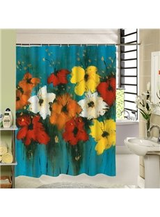 Colored Oil Painting Flowers Printing 3D Bathroom Decor Shower Curtain