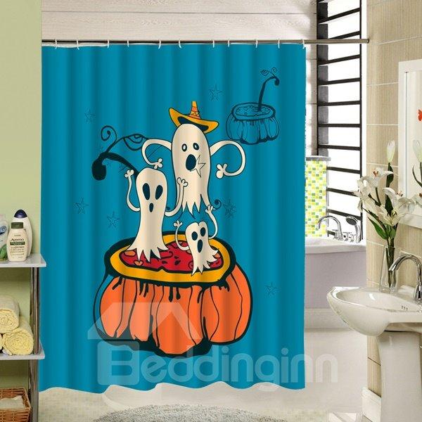 Cute Ghost Standing on Pumpkin Halloween Theme 3D Printing Shower Curtain