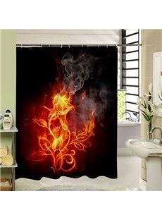 Interesting Fire Rose Printing 3D Bathroom Shower Curtain