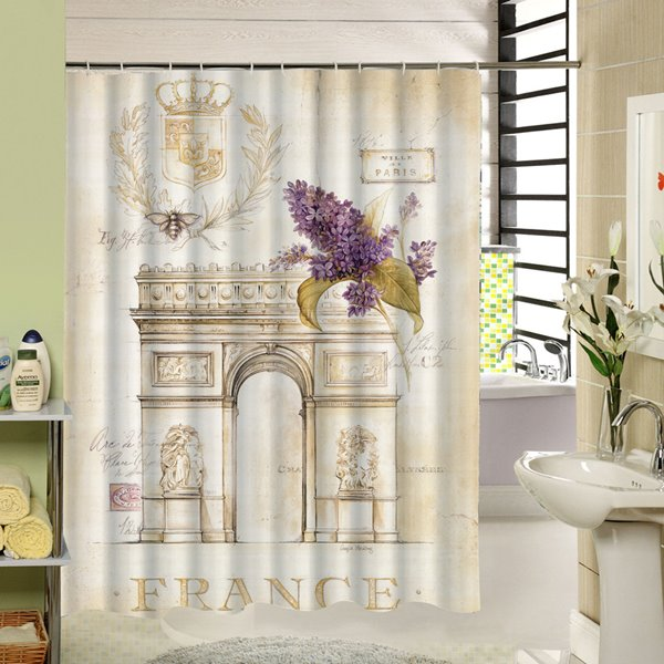 Hand Painted Paris Arch of Triumph Printing 3D Shower Curtain