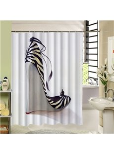 Fashion Black and White Stripes Pattern Wedge-Soled Shoes Printing 3D Shower Curtain