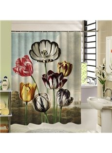 Weird Colorful Flowers Printing 3D Bathroom Decor Shower Curtain