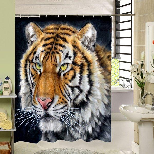 Cruel Tiger Face Printing 3D Waterproof Shower Curtain
