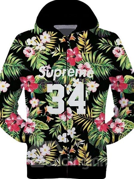 Lovely Long Sleeve 3D Painted Multicolor Flowers and Leaves Pattern Zipper Hoodie for Men