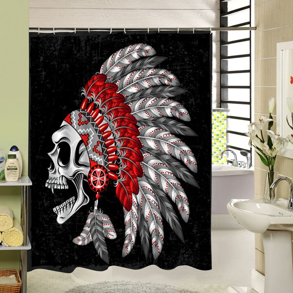 3D Indian Style Skull Printed Polyester Black Shower Curtain